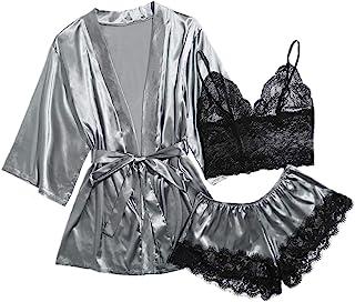 SOLY HUX 女士加缎睡衣蕾丝吊带上衣和短裤睡衣套装带腰带睡袍