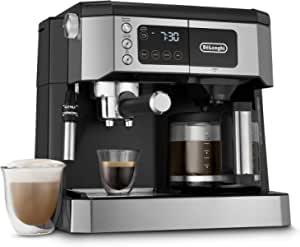 De'Longhi 多合一组合咖啡机和浓缩咖啡机 + 高级可调节奶泡机,适用于卡布奇诺和拿铁 + 玻璃咖啡壶 10 杯, COM532M