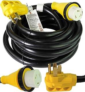 Leisure Cords 25 英尺电源/延长线,带 50 AMP 公头标准 / 50 AMP 母头锁定适配器(50 安培 - 25 英尺)