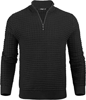 iClosam 男式休闲修身拉链马球衫半高领罗纹边套头毛衣