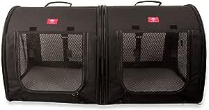 One for Pets 面料便携 2 合 1 双宠物狗窝/棚,黑色 50.8 厘米 x 50.8 厘米 x 99.06 厘米 - 包括汽车*带固定装置