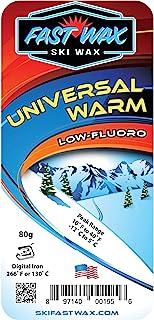 Fast Wax - 通用滑雪蜡 - 温暖温度低碳氟化合物(80 克巴)黄色 - 美国制造