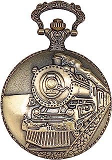 ShoppeWatch 怀表带链金色铁路火车全猎人机车蒸汽朋克设计 PW-34