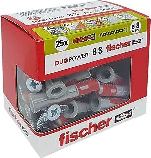 Fischer 544017 带挂钉螺钉,用于壁挂穿穿孔和石膏板,灰色,8 x 40 毫米,25 件装