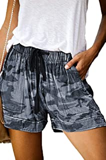 Newchoice 女式夏季抽绳松紧腰休闲短裤带口袋