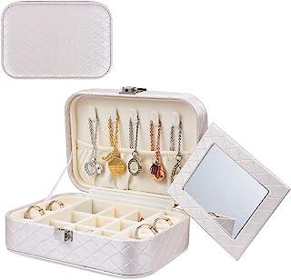 EBUTY 珠宝盒旅行收纳包便携式展示盒戒指耳环项链礼物女孩女士米白色