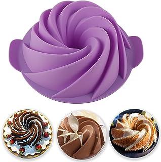 JAYCIK Bundt 蛋糕锅硅胶果冻模具不粘 Para Reposteria 8 英寸(约 20.3 厘米)适用于家庭烘焙蛋糕面包(紫色)