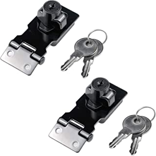 MY MIRONEY 2.5 英寸(约 6.3 厘米)钥匙锁式锁具金属扭锁旋钮锁锁闩锁锁锁式锁具黑色*门柜门门柜门窗 2 件装