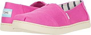 TOMS 女士麂皮坡跟鞋 Desrhi 黑色 10002815 Pink Canvas 6 Big Kid