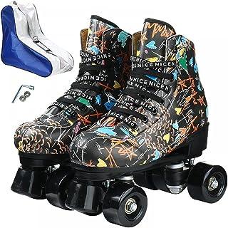 女士男士初学者双排 4 轮滑鞋创意涂鸦图案高帮滚轮靴适用于室内室外