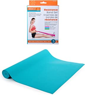 Bodico 防滑瑜伽垫和锻炼阻力带套装适用于健身,蓝色