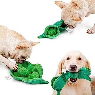 狗狗毛绒吱吱声玩具,豌豆玩具带 3 件装,抓取玩具发声球狗狗鼻罩垫互动小狗拼图玩具适合中小型犬(豌豆)