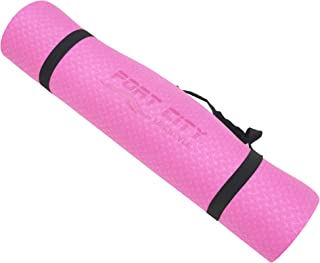 Port City Lifestyle 环保 TPE 瑜伽垫,适用于普拉提和地板锻炼 72 英寸 x 24 英寸 x 6 毫米双表面防滑带背带