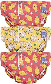 Bambino Mio 3SWPM PUN,可重复使用的游泳尿布,酸液,M(6-12个月),3件装,多色