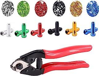 MMOSTAR 120 件合金自行车刹车电缆盖端头移位器压接环盖不锈钢钢丝绳自行车电缆切割器套装适用于公路山地自行车