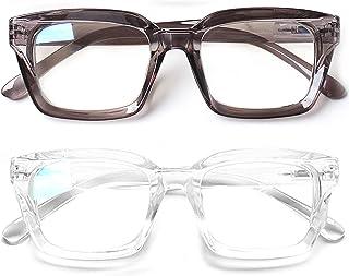 Norperwis 2 件装女式老花镜 - 超大方形设计蓝色阻光阅读器眼镜