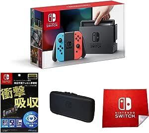 任天堂 Nintendo Switch 【Joy-Con (L)霓虹蓝/ (R)霓虹红】&【日本亚马逊限定】【液晶保护膜多功能(任天堂许可商品)】+特别的小包(EVA)黑+微纤维交叉