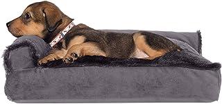 Furhaven 宠物狗床 – 毛绒人造毛皮和天鹅绒 L 形躺椅靠枕沙发风格 客厅角落沙发宠物床带可拆卸枕套,适用于狗和猫,铂金灰色,小号