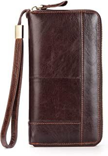黑色销售星期五交易男士长款皮革手机手拿包钱包男士大号旅行商务手提包手机皮套卡包保护套父亲儿子丈夫男朋友礼物(棕色-2)