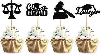 Keaziu 36 件黑色 2021 毕业律师主题 纸杯蛋糕装饰 法学院毕业派对 蛋糕 顶饰 插盒 封闭法学 律师 派对装饰用品