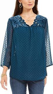 Style & Co 混合材质薄纱袖衬衫,羽衣甘蓝绿 S 码