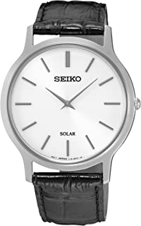 Seiko 精工 SUP873P1男士黑色皮革表带手表,White/Black