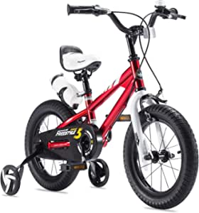RoyalBaby 优贝 男孩女孩儿童自行车 12 英寸(约30.48 厘米) BMX Freestyle 2 手刹自行车带训练轮儿童自行车 蓝色