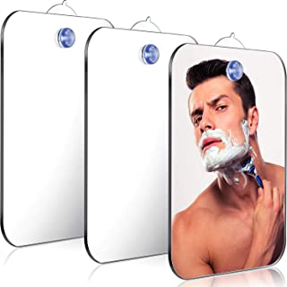 Jetec 3 件套防雾淋浴镜无雾浴室手持镜子,男女皆宜,坚固便携旅行剃须镜,无雾旅行镜子,6.69 x 5.11 英寸