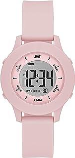 Skechers 女式 Rosencrans 数字手表硅胶表带,粉色,16(型号:SR6220)