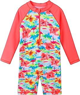 女童长袖*衣连体泳衣 UPF50+ *花朵拉链泳装