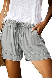女式休闲抽绳松紧腰舒适夏季纯色短裤带口袋