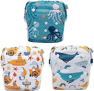 babygoal 婴儿可重复使用游泳纸尿裤,可水洗和可调节,适合 0-2 岁婴儿,游泳课和婴儿礼物 鲨鱼和章鱼 Small