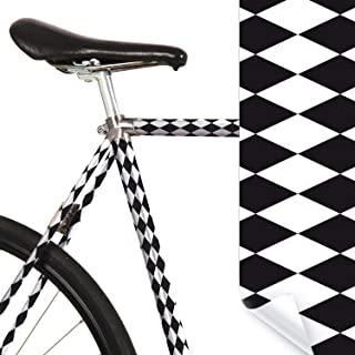 MOOXIBIKE l 菱形黑色/白色迷你自行车膜,带图案,适用于公路自行车、山地车、固定装置、荷兰自行车、城市自行车、踏板车、踏板车,大约 13 厘米框架周长。