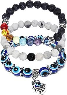 COLORFUL BLING Evil Eye 手链,Mal De Ojo 女士串珠脉轮编织手链,纳扎护身符,幸运手镯,带 Hamsa/Evil Eye Indie Y2k Miraculous Jewelry 礼物,送给女性女孩