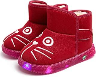 男童女童 LED 发光雪地靴可爱猫毛衬里冬季保暖儿童靴幼儿婴儿 LED 灯鞋防水防滑毛绒户外靴