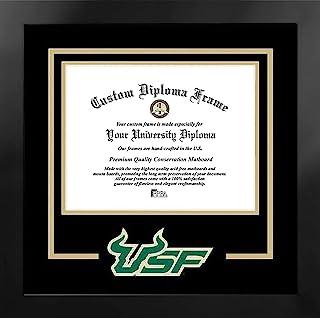 Campus Images NCAA 南佛罗里达公牛队中性精神文凭曼哈顿黑色框架附赠平版版画,黑色,均码