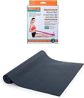 Bodico 防滑瑜伽垫和锻炼阻力带套装适用于健身,黑色