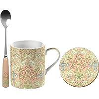 V&A John Henry Dearle Hyacinth 印花精美中国马克杯套装带杯垫 茶匙,多色 3 件