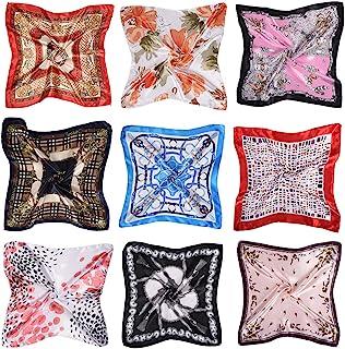 女式小号方形缎面围巾丝绸触感混合领头围巾发带套装(50.00 厘米 x 50.00 厘米)