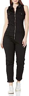 v.i.p. 牛仔裤女士修身无袖修身弹力连体牛仔裤表格女式深蓝色