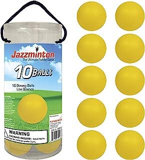速度球黄色 10 件装,适合快速玩耍,带木桨 – 家庭娱乐划桨游戏