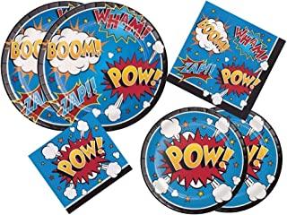 Creative Converting Inc..,*英雄标语 POW 生日宴会豪华套装包括餐盘、甜点盘、午餐餐巾和饮料餐巾,适合 16 名来宾