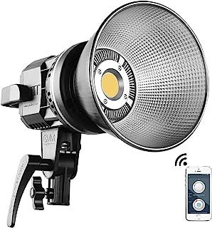 GVM 80W LED 摄像灯 5600K 日光平衡连续输出照明 CRI 96+ TLCI96+ 12000lux @ 0.5m 摄影灯带反射器适用于人像产品摄影视频拍摄