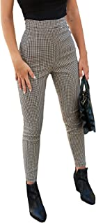 SOLY HUX 女式格子高腰紧身长裤工作裤
