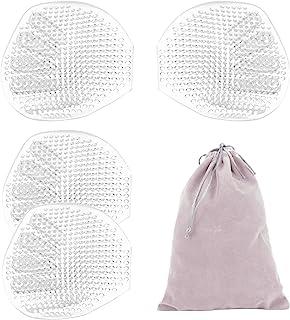 2 对透气蜂窝硅胶文胸衬垫 - 防滑加厚穿孔外壳形状胸托增强器轻质聚拢垫女式比基尼泳装运动文胸