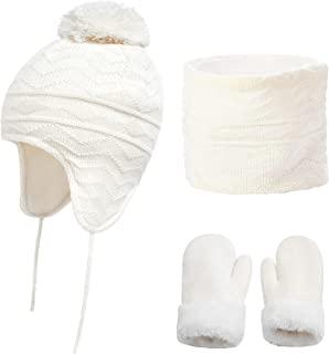 儿童冬季帽围巾手套套装 适合 1-6 岁幼儿女婴男孩针织耳罩无檐*帽保暖羊毛帽