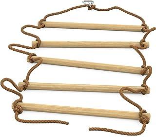 Coozy by SDZ 梯子绳 - 忍者套装的悬挂障碍物延长器 - 适合所有忍者套件滑板户外游戏和体育活动绳,木色