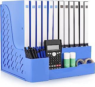 Lemical 办公室收纳桌 A4 文件收纳包 带笔架 8 个隔层文件收纳包 信件大小文件夹 坚固的文件存储盒 桌面文件收纳盒 文件分隔器