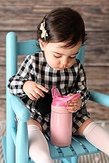 Nuby Thirsty 儿童防溢翻盖不锈钢旅行杯,10 盎司,粉色