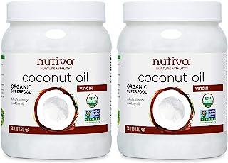 Nutiva 未精制的初榨椰子油,54盎司(约1.53千克),1.6升,2瓶